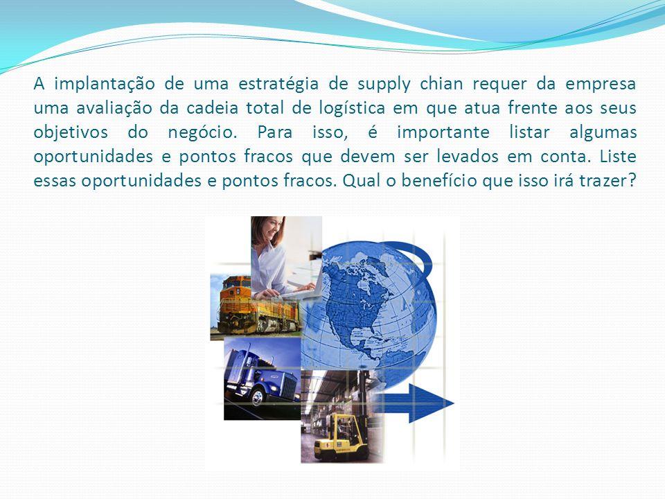 A implantação de uma estratégia de supply chian requer da empresa uma avaliação da cadeia total de logística em que atua frente aos seus objetivos do
