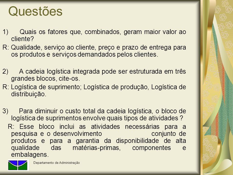 Questões 1) Quais os fatores que, combinados, geram maior valor ao cliente? R: Qualidade, serviço ao cliente, preço e prazo de entrega para os produto