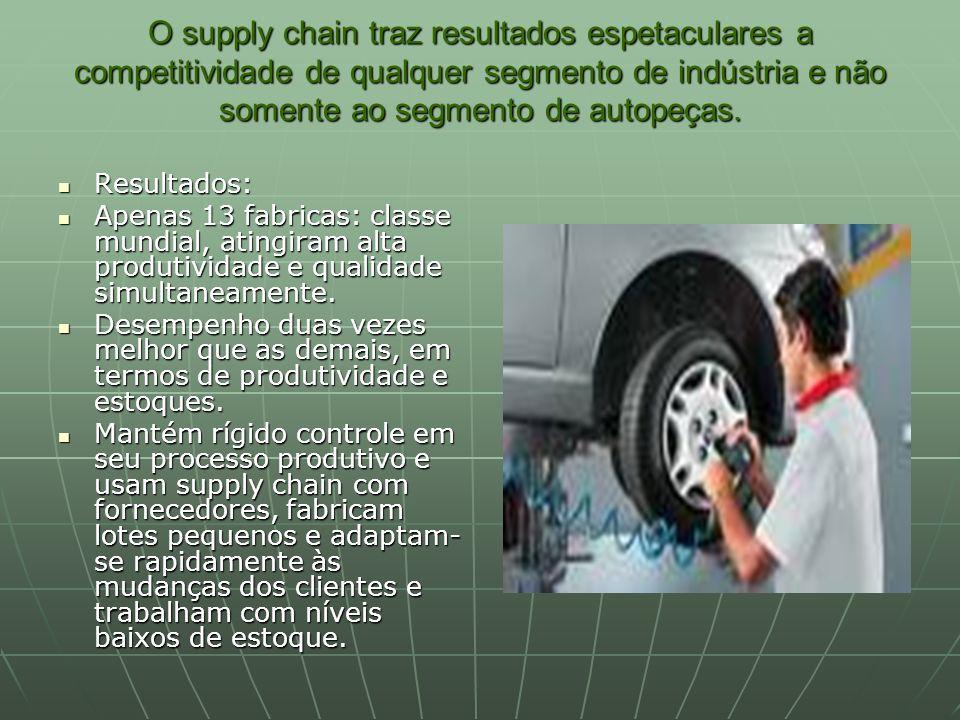 O supply chain traz resultados espetaculares a competitividade de qualquer segmento de indústria e não somente ao segmento de autopeças. Resultados: R