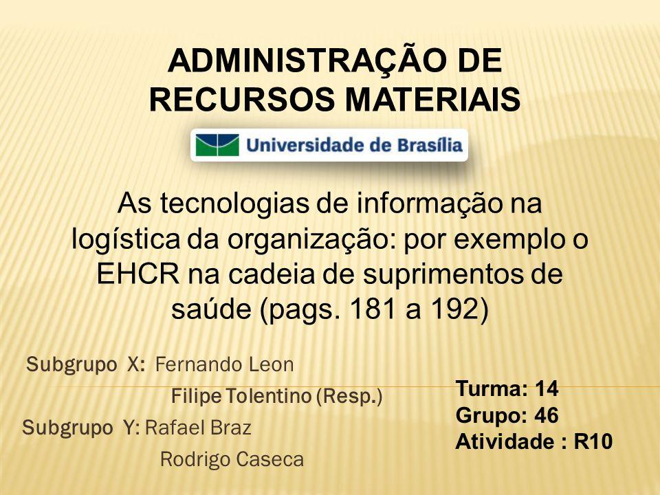ADMINISTRAÇÃO DE RECURSOS MATERIAIS Subgrupo X: Fernando Leon Filipe Tolentino (Resp.) Subgrupo Y: Rafael Braz Rodrigo Caseca Turma: 14 Grupo: 46 Ativ