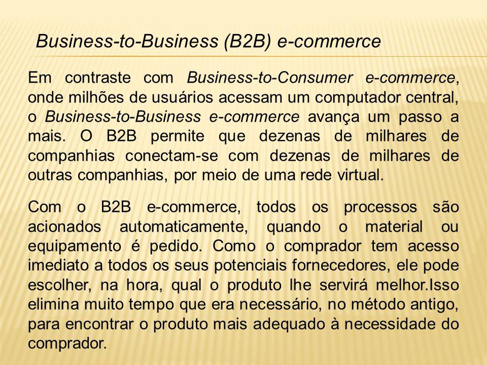 Em contraste com Business-to-Consumer e-commerce, onde milhões de usuários acessam um computador central, o Business-to-Business e-commerce avança um