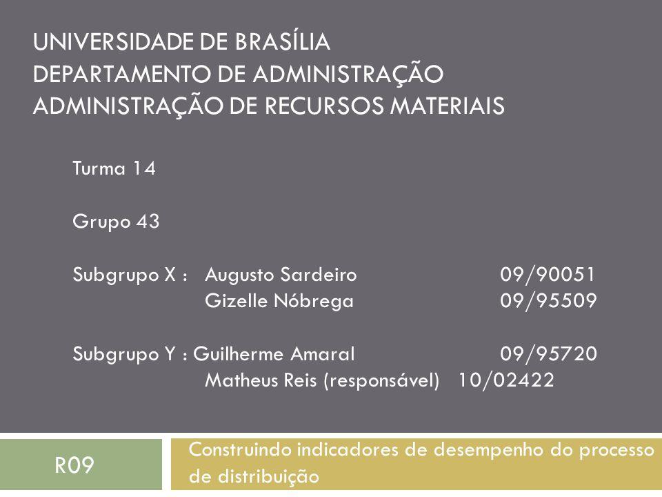 UNIVERSIDADE DE BRASÍLIA DEPARTAMENTO DE ADMINISTRAÇÃO ADMINISTRAÇÃO DE RECURSOS MATERIAIS Construindo indicadores de desempenho do processo de distri