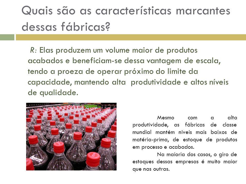 Quais são as características marcantes dessas fábricas? R: Elas produzem um volume maior de produtos acabados e beneficiam-se dessa vantagem de escala