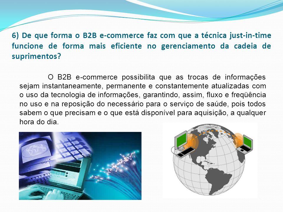 6) De que forma o B2B e-commerce faz com que a técnica just-in-time funcione de forma mais eficiente no gerenciamento da cadeia de suprimentos? O B2B