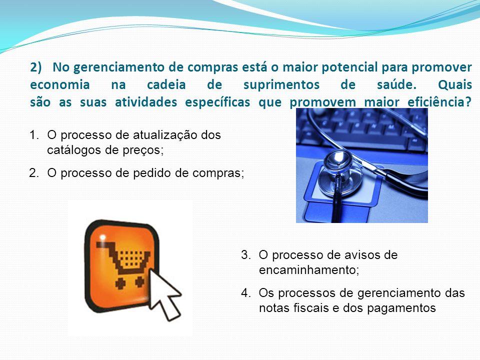 2) No gerenciamento de compras está o maior potencial para promover economia na cadeia de suprimentos de saúde. Quais são as suas atividades específic
