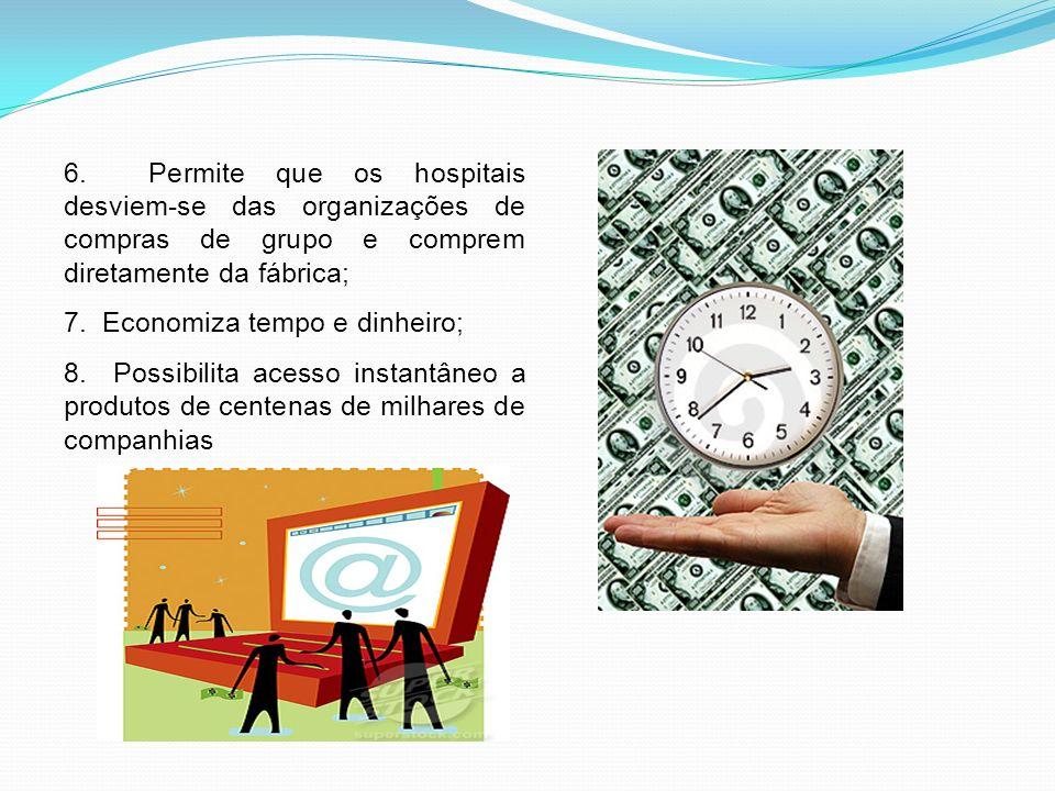 6. Permite que os hospitais desviem-se das organizações de compras de grupo e comprem diretamente da fábrica; 7. Economiza tempo e dinheiro; 8. Possib