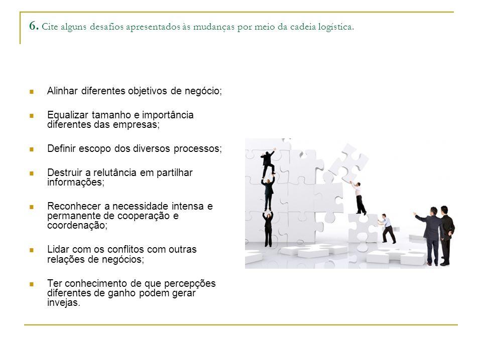 6.Cite alguns desafios apresentados às mudanças por meio da cadeia logística.
