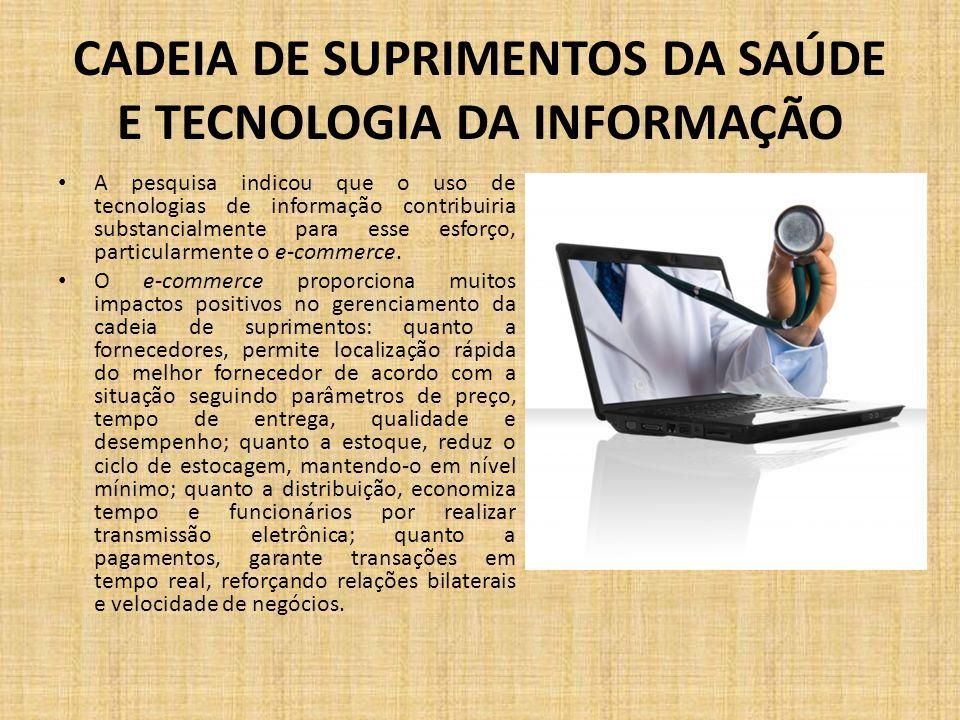 CADEIA DE SUPRIMENTOS DA SAÚDE E TECNOLOGIA DA INFORMAÇÃO A pesquisa indicou que o uso de tecnologias de informação contribuiria substancialmente para