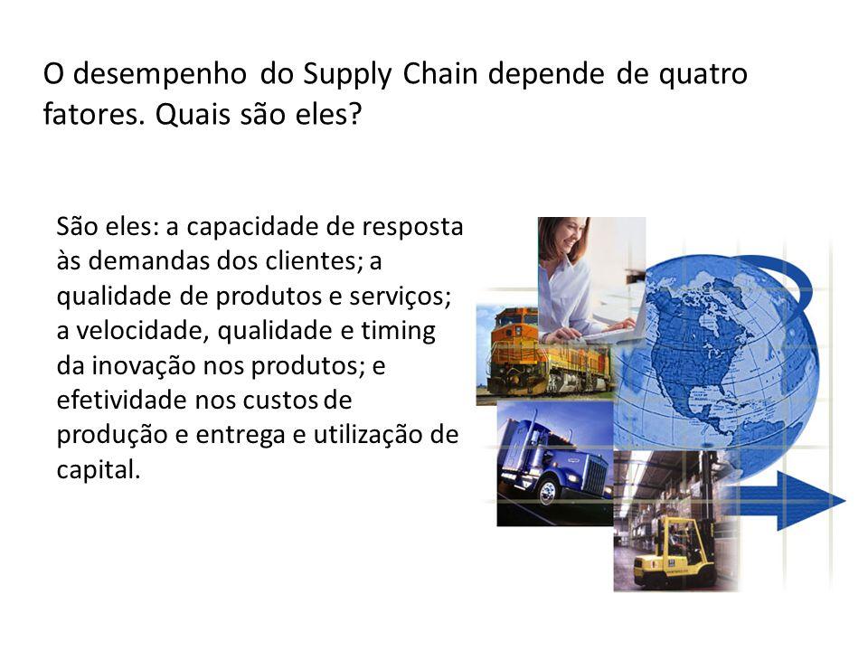O desempenho do Supply Chain depende de quatro fatores. Quais são eles? São eles: a capacidade de resposta às demandas dos clientes; a qualidade de pr