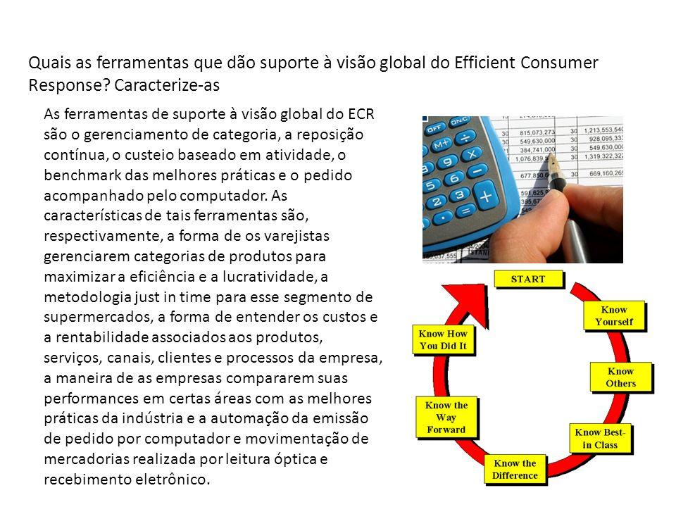 Quais as ferramentas que dão suporte à visão global do Efficient Consumer Response? Caracterize-as As ferramentas de suporte à visão global do ECR são