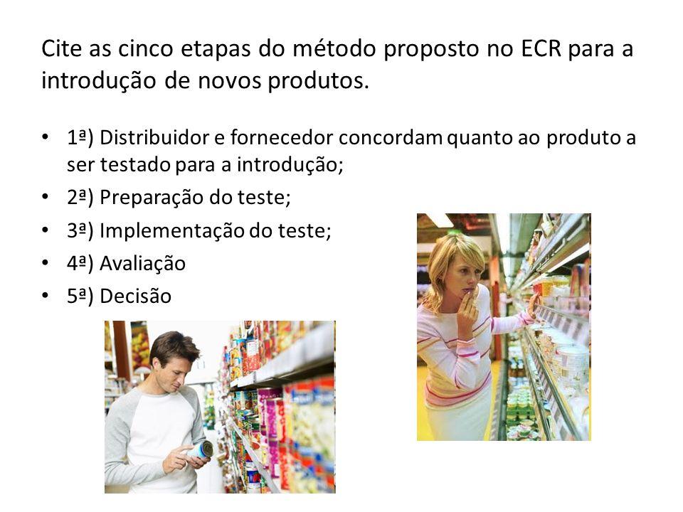 Cite as cinco etapas do método proposto no ECR para a introdução de novos produtos. 1ª) Distribuidor e fornecedor concordam quanto ao produto a ser te