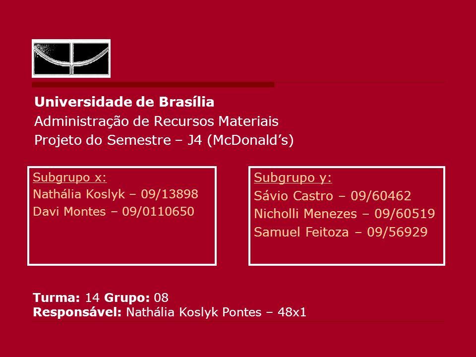 Universidade de Brasília Administração de Recursos Materiais Projeto do Semestre – J4 (McDonalds) Subgrupo x: Nathália Koslyk – 09/13898 Davi Montes –