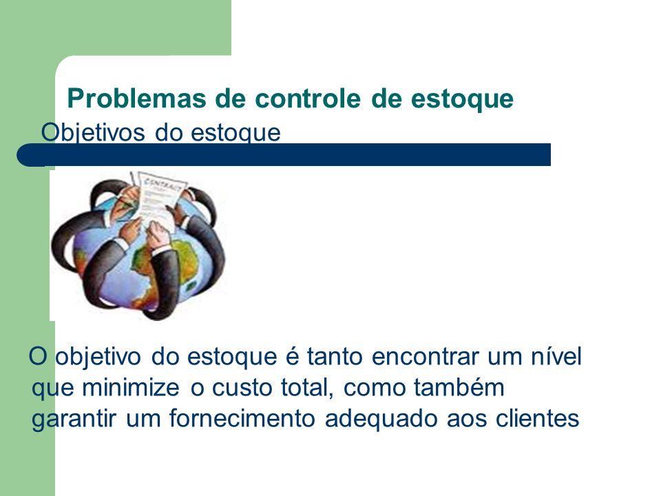 Problemas de controle de estoque Previsão de incertezas Esse é um dos pontos mais difíceis em controle de estoques, pois é necessária uma previsão de vendas e demandas futuras