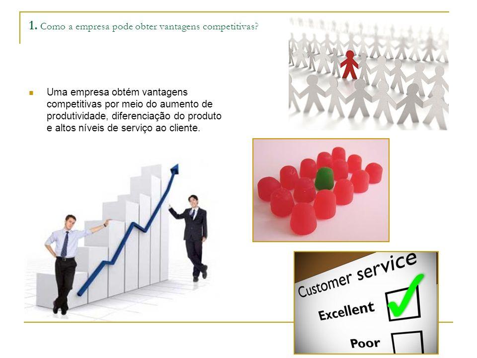 1. Como a empresa pode obter vantagens competitivas? Uma empresa obtém vantagens competitivas por meio do aumento de produtividade, diferenciação do p