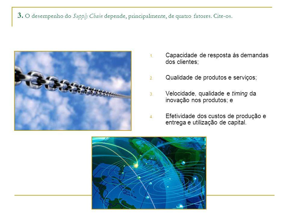 3. O desempenho do Supply Chain depende, principalmente, de quatro fatores. Cite-os. 1. Capacidade de resposta às demandas dos clientes; 2. Qualidade