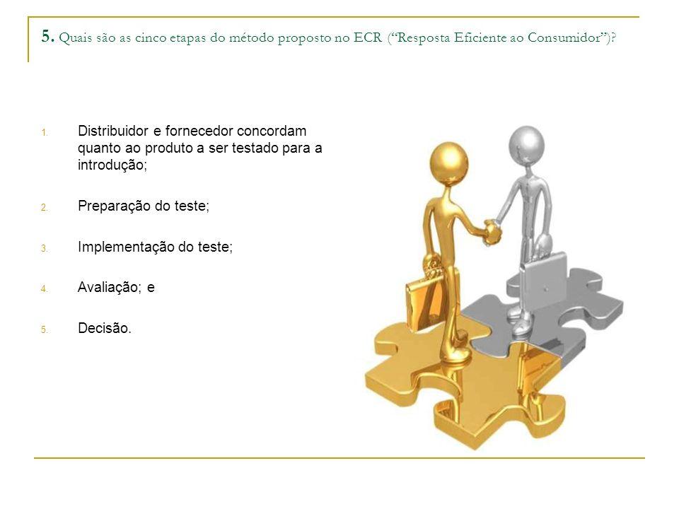 5. Quais são as cinco etapas do método proposto no ECR (Resposta Eficiente ao Consumidor)? 1. Distribuidor e fornecedor concordam quanto ao produto a