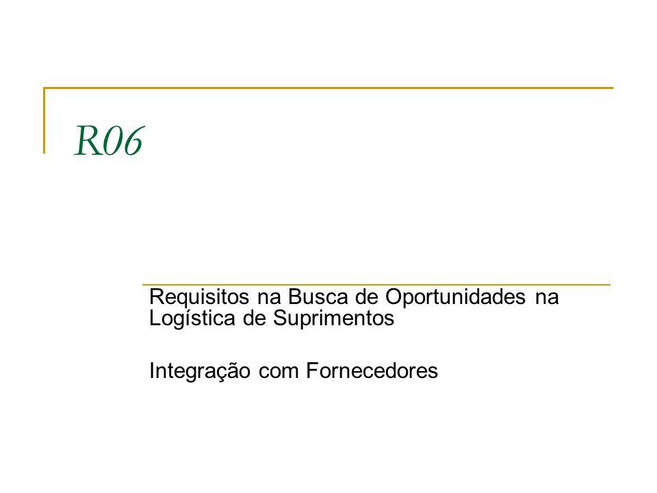 R06 Requisitos na Busca de Oportunidades na Logística de Suprimentos Integração com Fornecedores