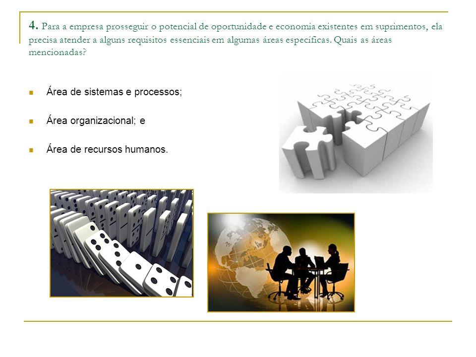 4. Para a empresa prosseguir o potencial de oportunidade e economia existentes em suprimentos, ela precisa atender a alguns requisitos essenciais em a