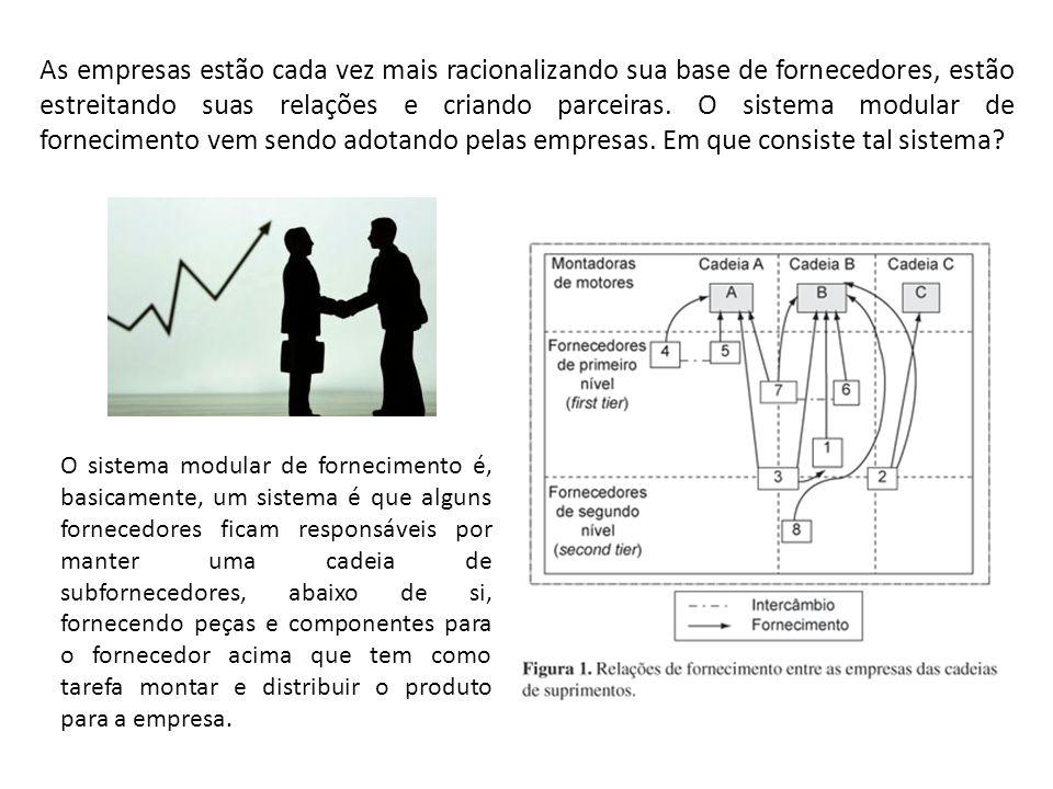 As empresas estão cada vez mais racionalizando sua base de fornecedores, estão estreitando suas relações e criando parceiras. O sistema modular de for