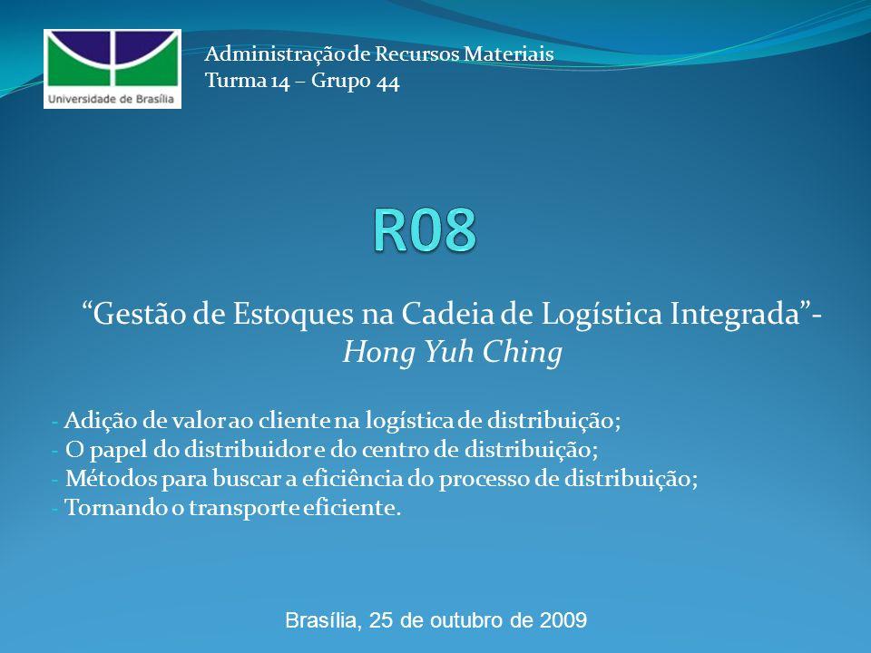 - Adição de valor ao cliente na logística de distribuição; - O papel do distribuidor e do centro de distribuição; - Métodos para buscar a eficiência do processo de distribuição; - Tornando o transporte eficiente.