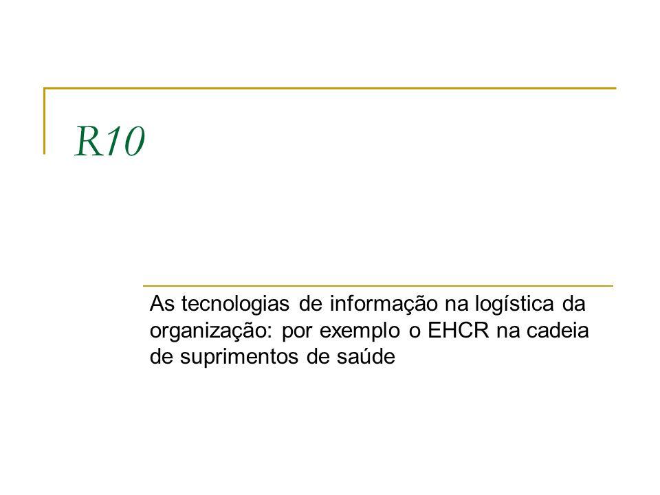 R10 As tecnologias de informação na logística da organização: por exemplo o EHCR na cadeia de suprimentos de saúde