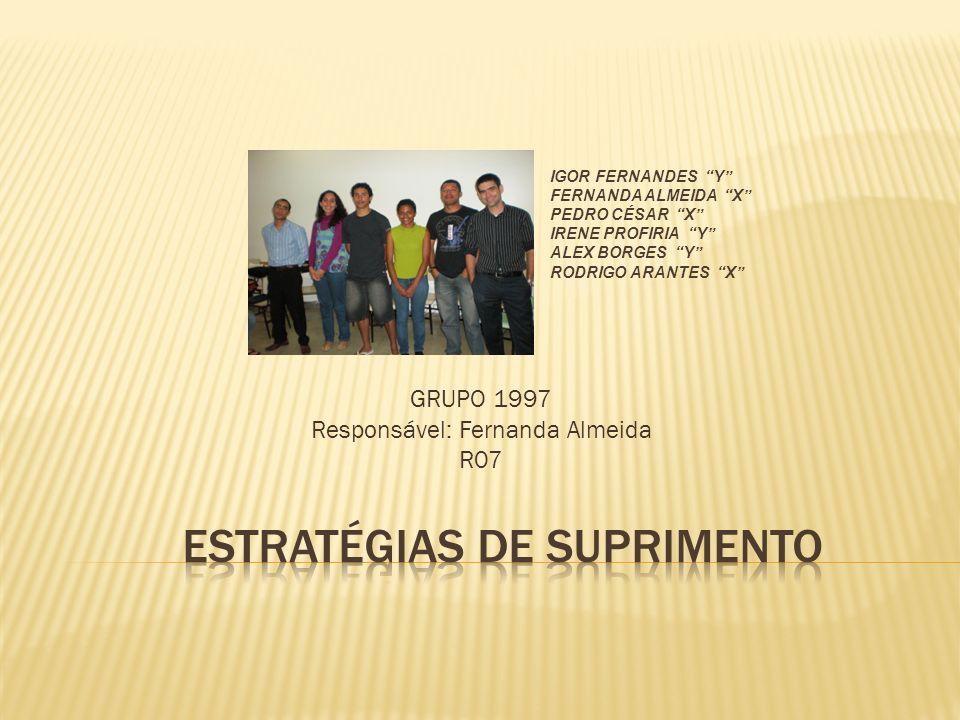 GRUPO 1997 Responsável: Fernanda Almeida R07 IGOR FERNANDES Y FERNANDA ALMEIDA X PEDRO CÉSAR X IRENE PROFIRIA Y ALEX BORGES Y RODRIGO ARANTES X
