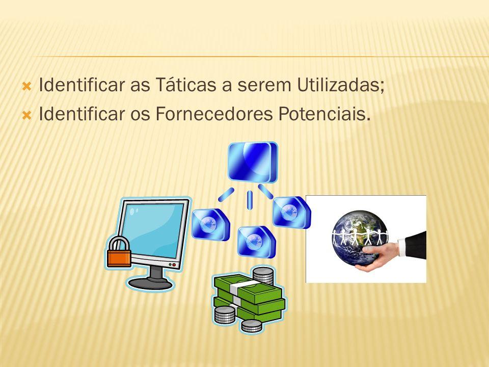 Identificar as Táticas a serem Utilizadas; Identificar os Fornecedores Potenciais.