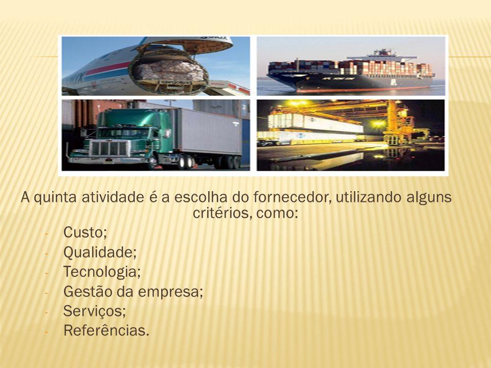 A quinta atividade é a escolha do fornecedor, utilizando alguns critérios, como: - Custo; - Qualidade; - Tecnologia; - Gestão da empresa; - Serviços; - Referências.