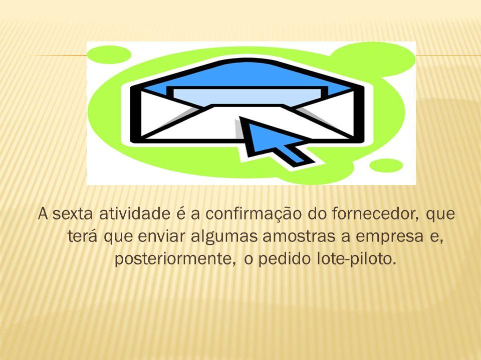 A sexta atividade é a confirmação do fornecedor, que terá que enviar algumas amostras a empresa e, posteriormente, o pedido lote-piloto.