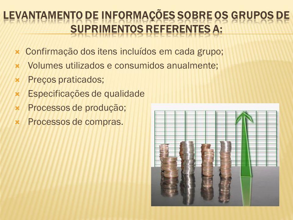 Confirmação dos itens incluídos em cada grupo; Volumes utilizados e consumidos anualmente; Preços praticados; Especificações de qualidade Processos de produção; Processos de compras.