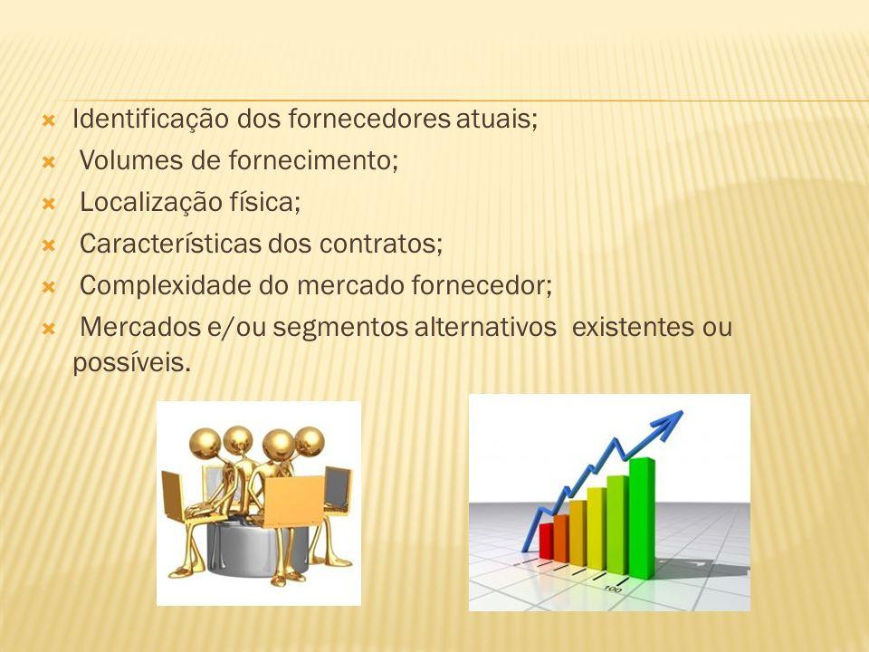 Identificação dos fornecedores atuais; Volumes de fornecimento; Localização física; Características dos contratos; Complexidade do mercado fornecedor; Mercados e/ou segmentos alternativos existentes ou possíveis.