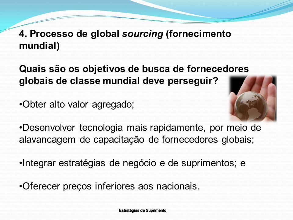 4. Processo de global sourcing (fornecimento mundial) Quais são os objetivos de busca de fornecedores globais de classe mundial deve perseguir? Obter