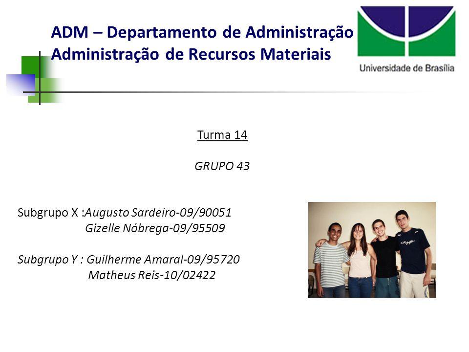 ADM – Departamento de Administração Administração de Recursos Materiais Turma 14 GRUPO 43 Subgrupo X :Augusto Sardeiro-09/90051 Gizelle Nóbrega-09/955