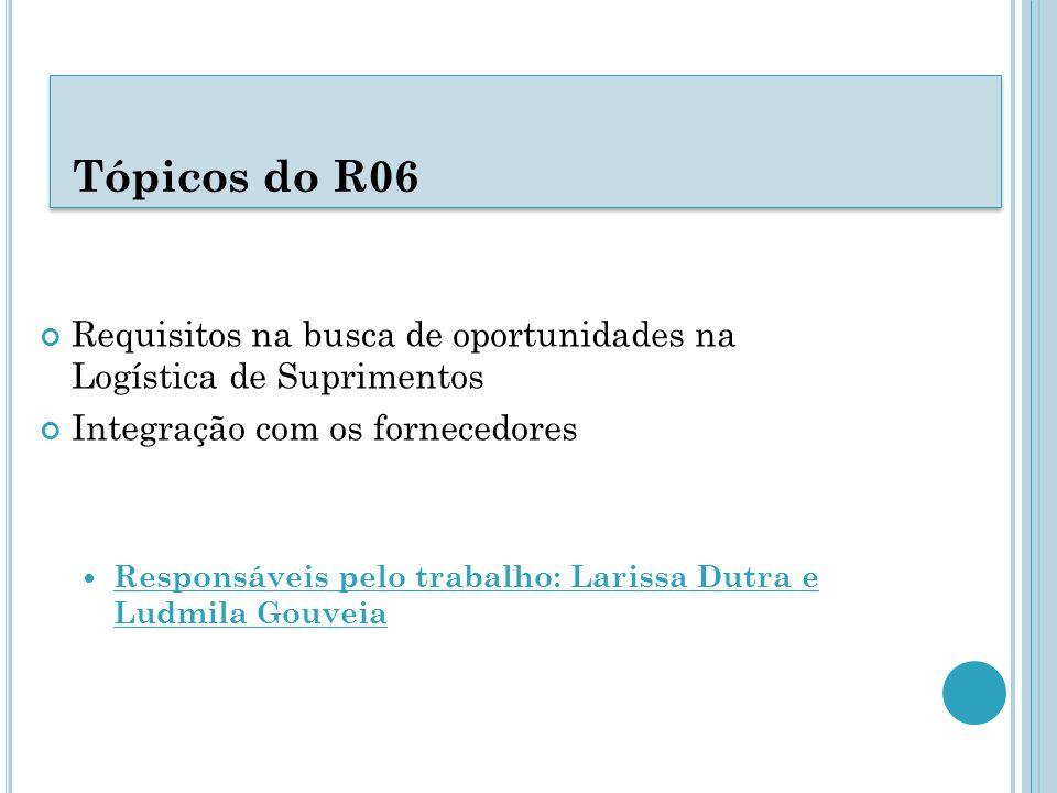 Tópicos do R06 Requisitos na busca de oportunidades na Logística de Suprimentos Integração com os fornecedores Responsáveis pelo trabalho: Larissa Dut