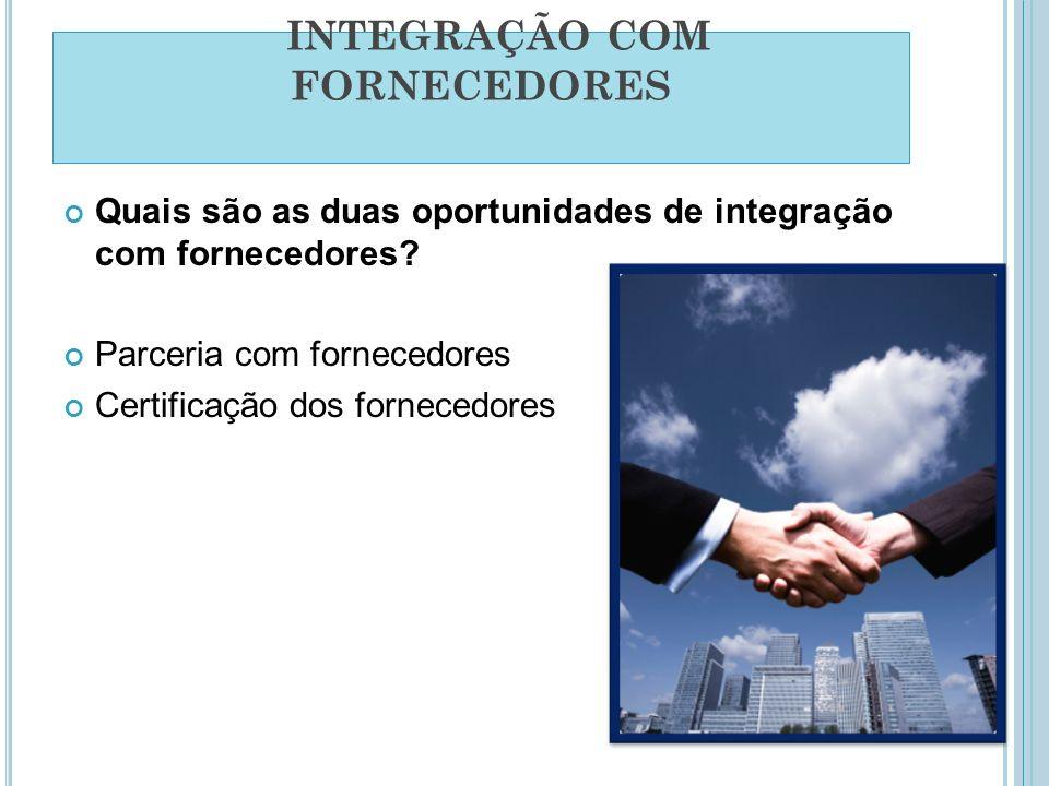 INTEGRAÇÃO COM FORNECEDORES Quais são as duas oportunidades de integração com fornecedores? Parceria com fornecedores Certificação dos fornecedores