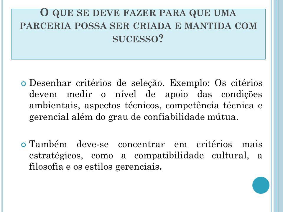 OS CRITÉRIOS DE SELEÇÃO: 1.Compatibilidade corporativa cultural 2.