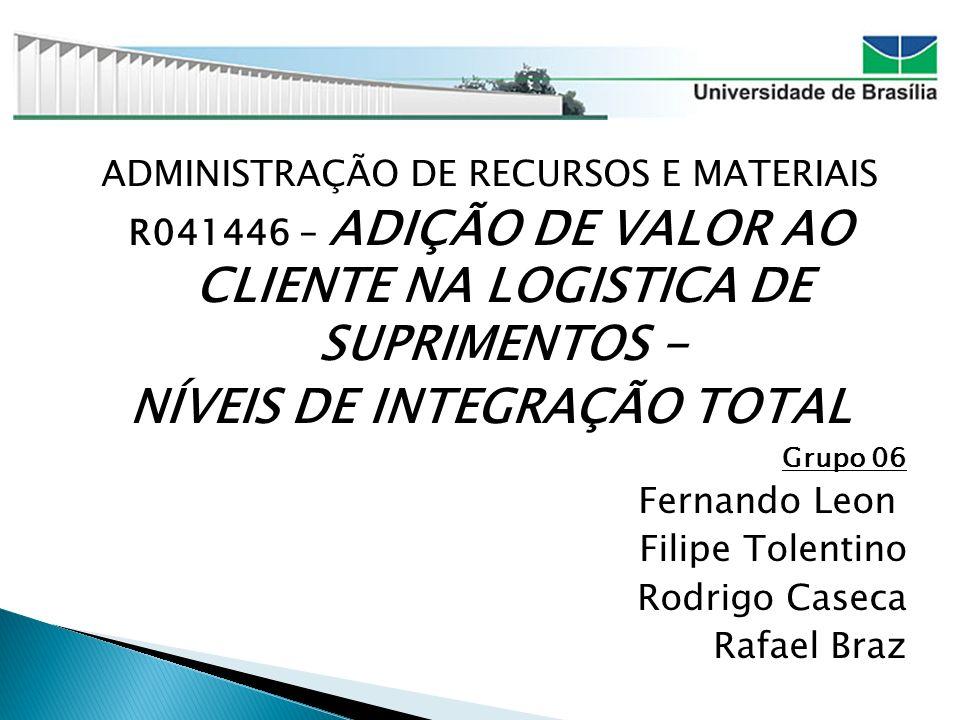 ADMINISTRAÇÃO DE RECURSOS E MATERIAIS R041446 – ADIÇÃO DE VALOR AO CLIENTE NA LOGISTICA DE SUPRIMENTOS - NÍVEIS DE INTEGRAÇÃO TOTAL Grupo 06 Fernando