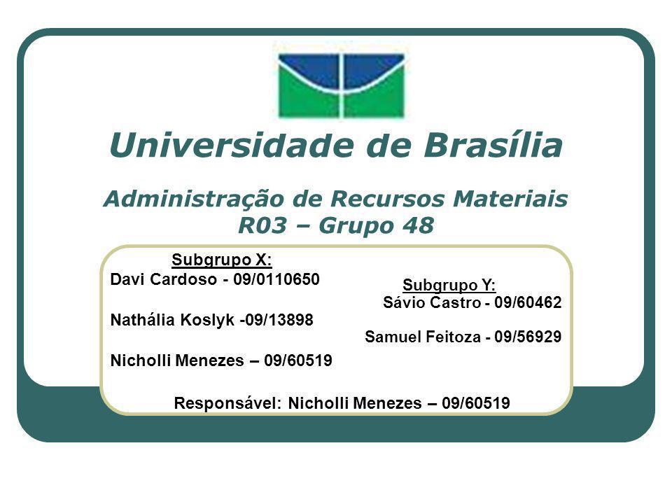 Universidade de Brasília Administração de Recursos Materiais R03 – Grupo 48 Subgrupo X: Davi Cardoso - 09/0110650 Nathália Koslyk -09/13898 Nicholli M