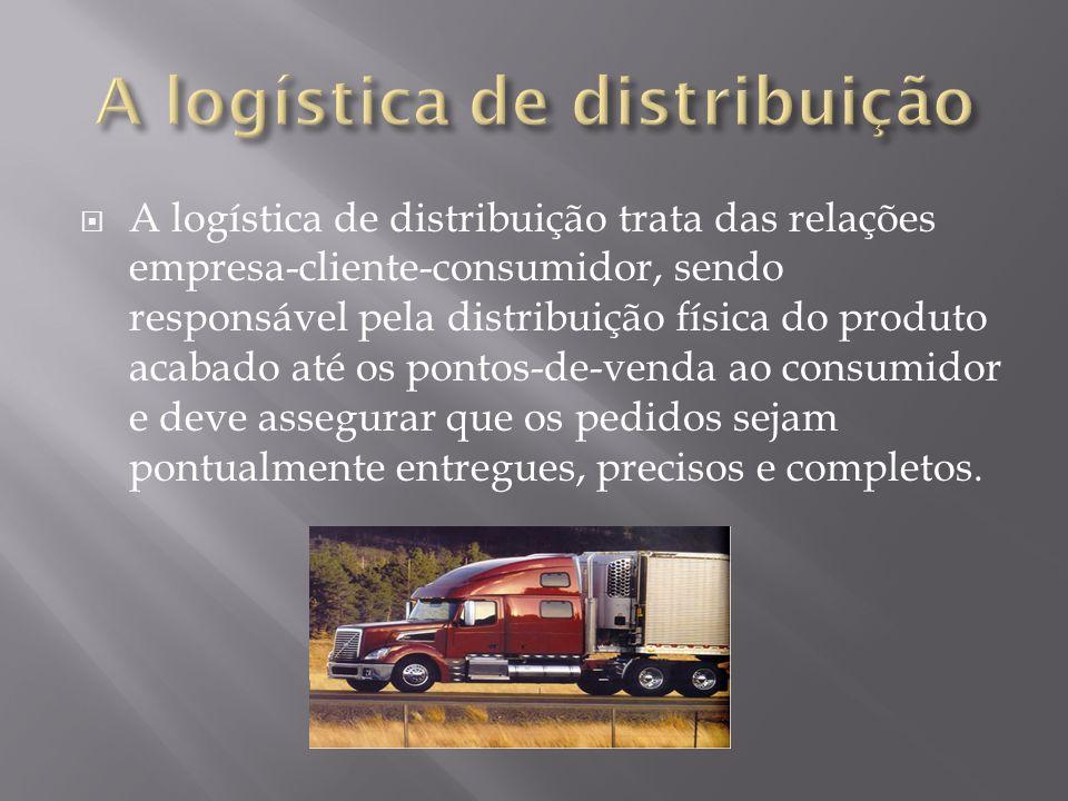 A logística de distribuição trata das relações empresa-cliente-consumidor, sendo responsável pela distribuição física do produto acabado até os pontos-de-venda ao consumidor e deve assegurar que os pedidos sejam pontualmente entregues, precisos e completos.