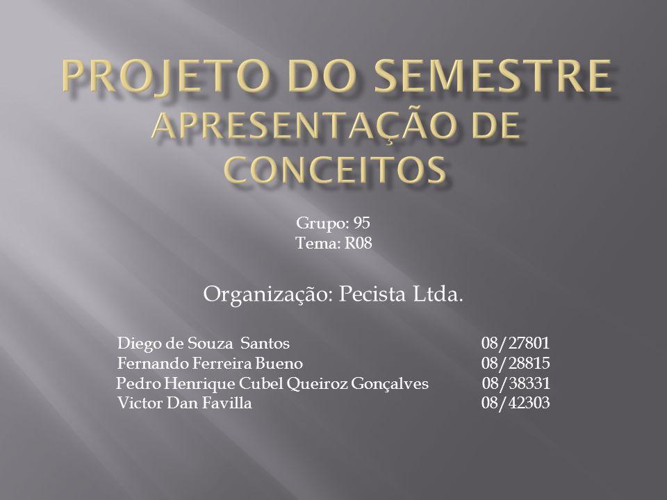 Grupo: 95 Tema: R08 Organização: Pecista Ltda. Diego de Souza Santos 08/27801 Fernando Ferreira Bueno 08/28815 Pedro Henrique Cubel Queiroz Gonçalves
