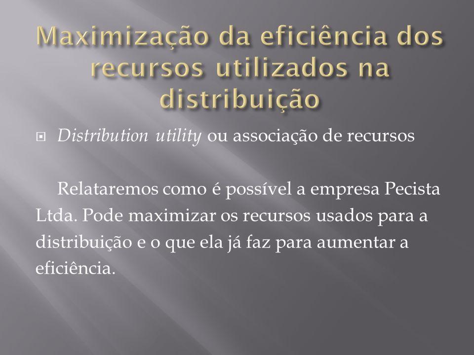 Distribution utility ou associação de recursos Relataremos como é possível a empresa Pecista Ltda. Pode maximizar os recursos usados para a distribuiç