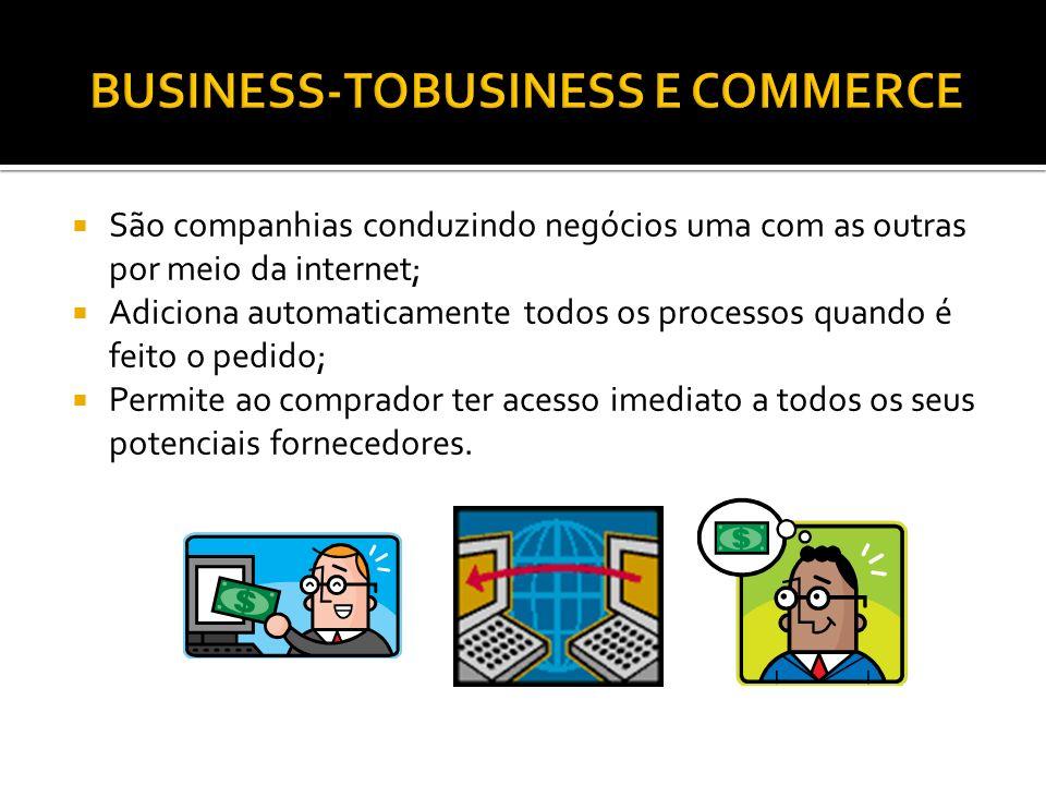 São companhias conduzindo negócios uma com as outras por meio da internet; Adiciona automaticamente todos os processos quando é feito o pedido; Permite ao comprador ter acesso imediato a todos os seus potenciais fornecedores.