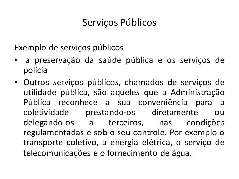 Exemplo de serviços públicos a preservação da saúde pública e os serviços de polícia Outros serviços públicos, chamados de serviços de utilidade públi