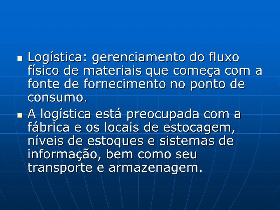 Logística: gerenciamento do fluxo físico de materiais que começa com a fonte de fornecimento no ponto de consumo. Logística: gerenciamento do fluxo fí