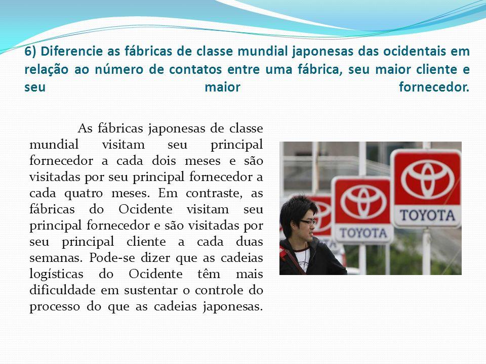 6) Diferencie as fábricas de classe mundial japonesas das ocidentais em relação ao número de contatos entre uma fábrica, seu maior cliente e seu maior