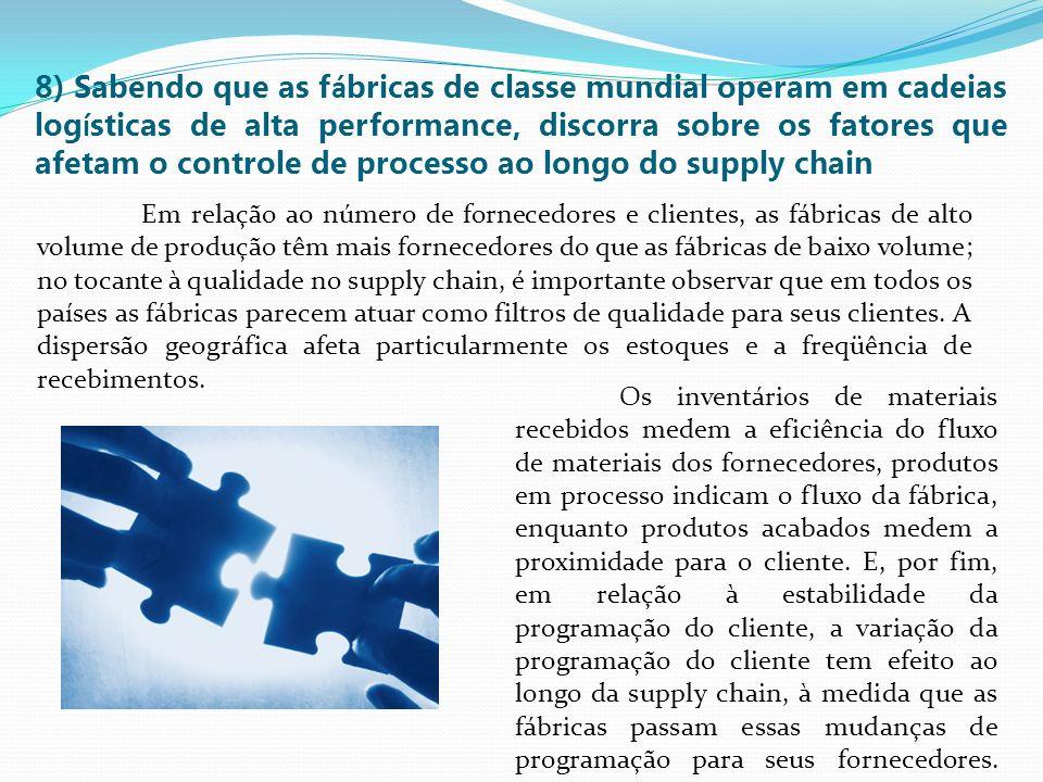 8) Sabendo que as f á bricas de classe mundial operam em cadeias log í sticas de alta performance, discorra sobre os fatores que afetam o controle de