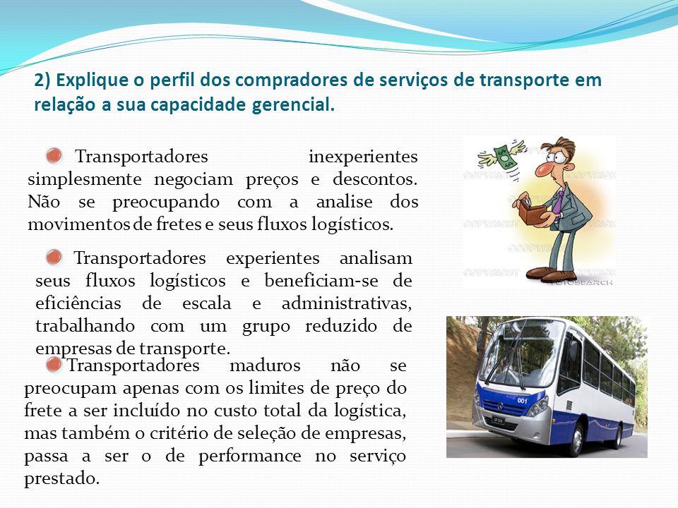2) Explique o perfil dos compradores de serviços de transporte em relação a sua capacidade gerencial. Transportadores inexperientes simplesmente negoc