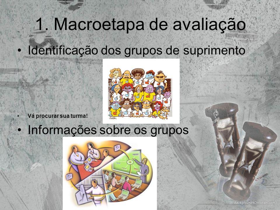 1. Macroetapa de avaliação Identificação dos grupos de suprimento Vá procurar sua turma! Informações sobre os grupos