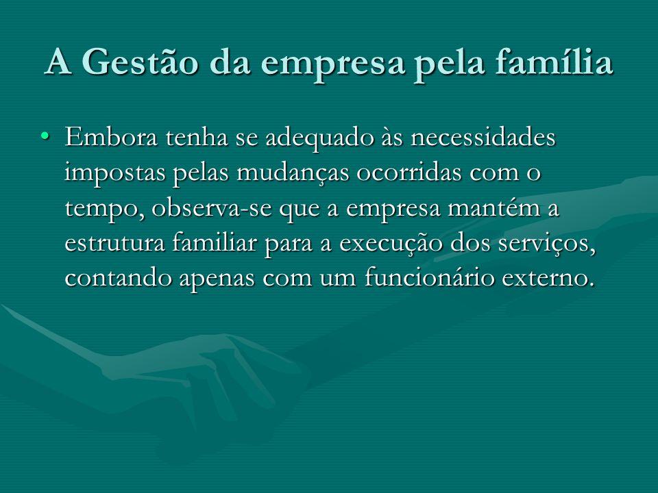 A Gestão da empresa pela família Embora tenha se adequado às necessidades impostas pelas mudanças ocorridas com o tempo, observa-se que a empresa mant