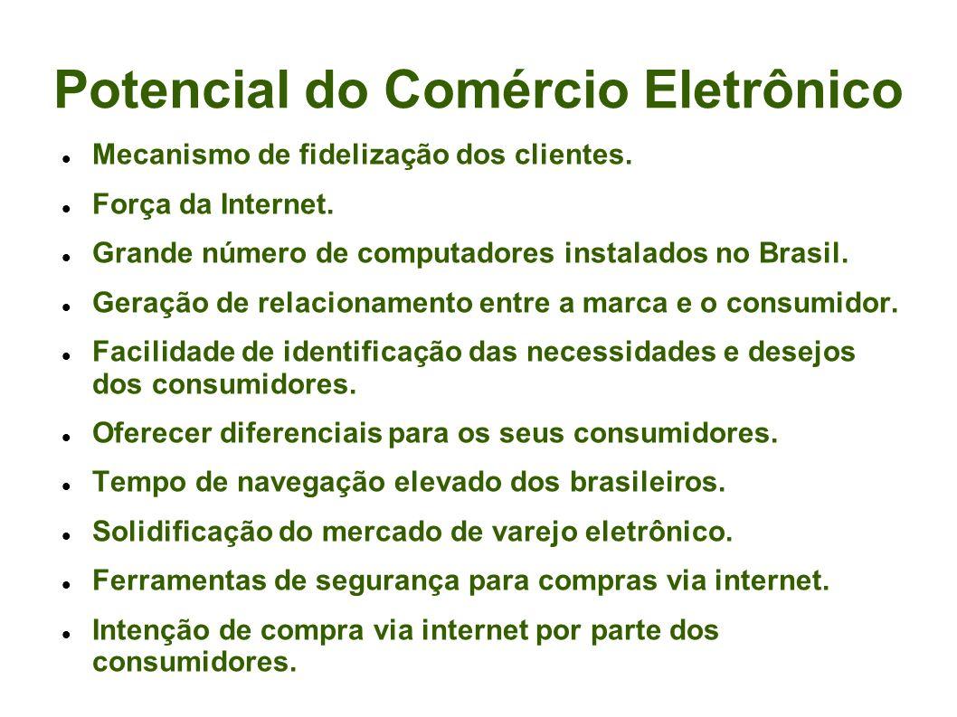 Potencial do Comércio Eletrônico Mecanismo de fidelização dos clientes. Força da Internet. Grande número de computadores instalados no Brasil. Geração